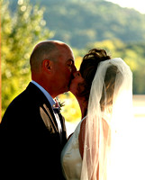 Kiss the bride - beautiful riverside wedding  ceremony on the Lower Wisconsin River